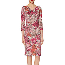 Buy Gina Bacconi Lace Effect Print Jersey Dress, Peach/Pink Online at johnlewis.com