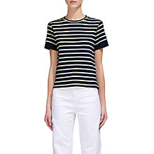 Buy Whistles Broderie Cuff Stripe T-Shirt, Blue/Ivory Online at johnlewis.com