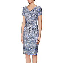 Buy Gina Bacconi Border Print Jersey Dress, Mid Blue Online at johnlewis.com