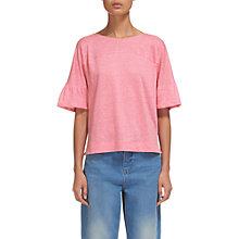 Buy Whistles Frill Cuff Linen T-Shirt, Pink Online at johnlewis.com
