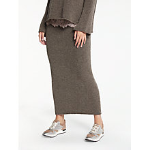 Buy Modern Rarity Long Knitted Rib Skirt, Mink Online at johnlewis.com