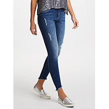 Buy Pieces Distressed Slim Fit Ankle Jeans, Medium Blue Online at johnlewis.com