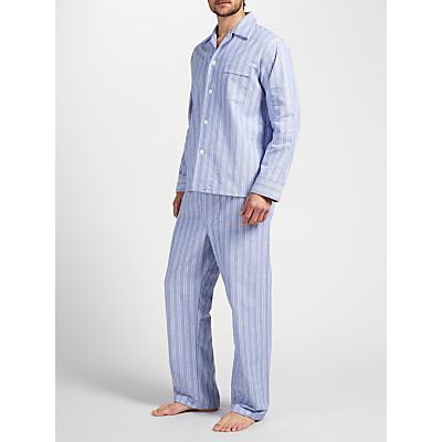 Derek Rose Brushed Cotton Stripe Pyjamas, White/Blue