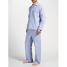 Buy Derek Rose Brushed Cotton Stripe Pyjamas, White/Blue Online at johnlewis.com