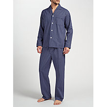 Buy Derek Rose Stripe Brushed Cotton Pyjamas, Navy/Red Online at johnlewis.com