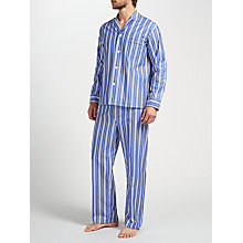 Buy Derek Rose Stripe Woven Cotton Pyjamas, White/Blue Online at johnlewis.com