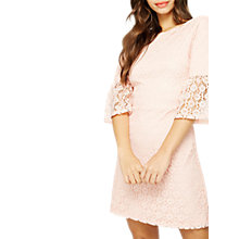 Buy Miss Selfridge Lace Flute Sleeve Dress, Fuschia Online at johnlewis.com