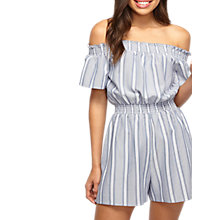 Buy Miss Selfridge Stripe Bardot Playsuit, Blue Online at johnlewis.com