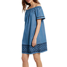 Buy White Stuff Aspen Bardot Dress, Denim Blue Online at johnlewis.com