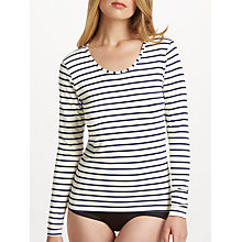 Buy John Lewis Heat Generating Long Sleeved Striped Top, Ivory/Navy Online at johnlewis.com