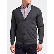 Buy Gant Fine Merino Cardigan, Anthracite Melange Online at johnlewis.com