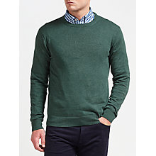 Buy Gant Lightweight Cotton Crew Neck Jumper, Tartan Green Online at johnlewis.com