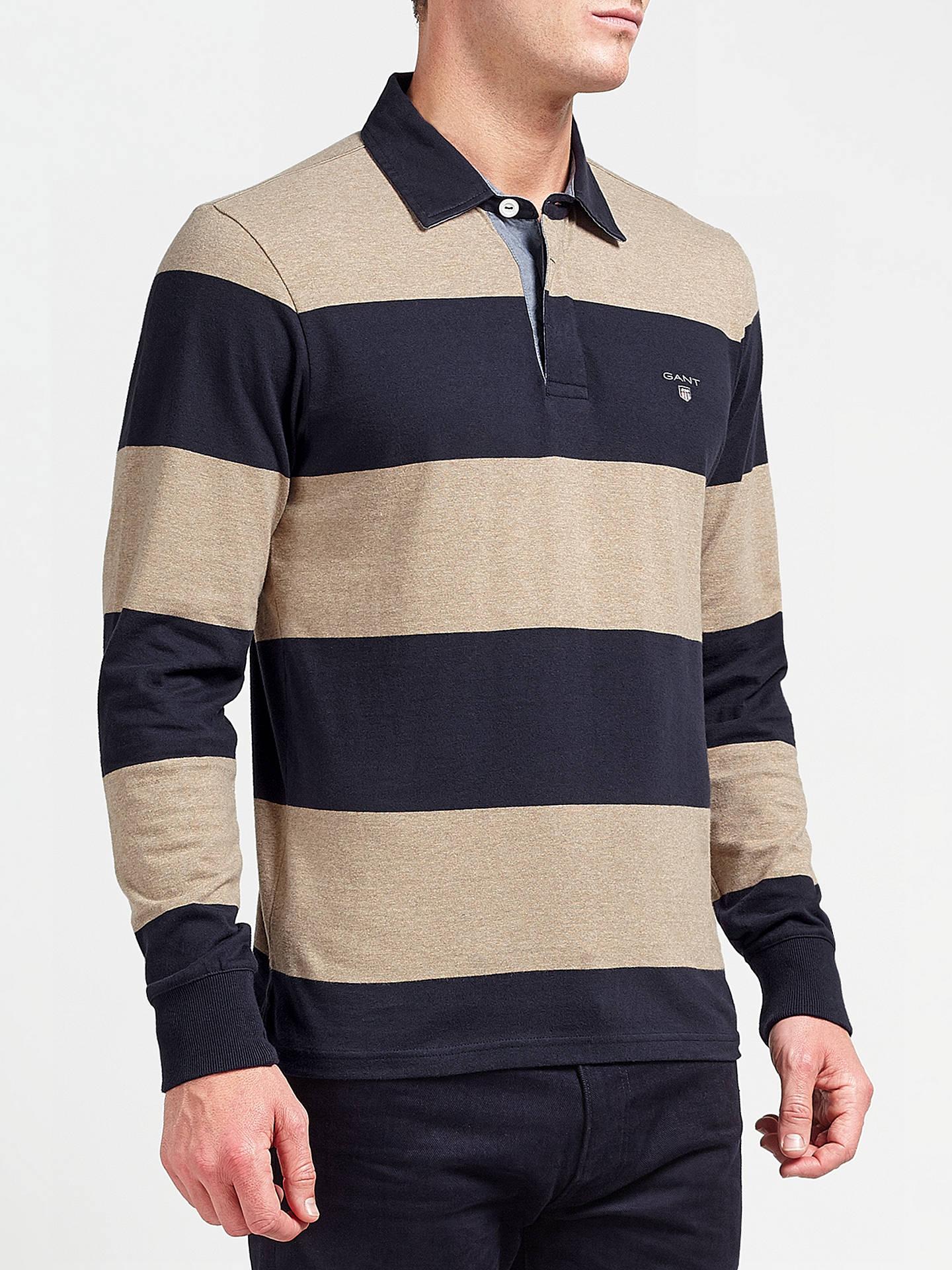 b2bb1ce5e7c Buy Gant Rugger Bar Stripe Heavy Jersey Top, Light Sand Melange, XXXL  Online at ...