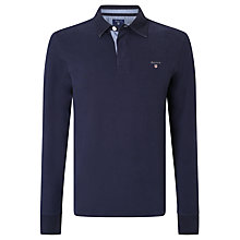 Buy Gant Solid Cotton Rugby Shirt, Evening Blue Online at johnlewis.com