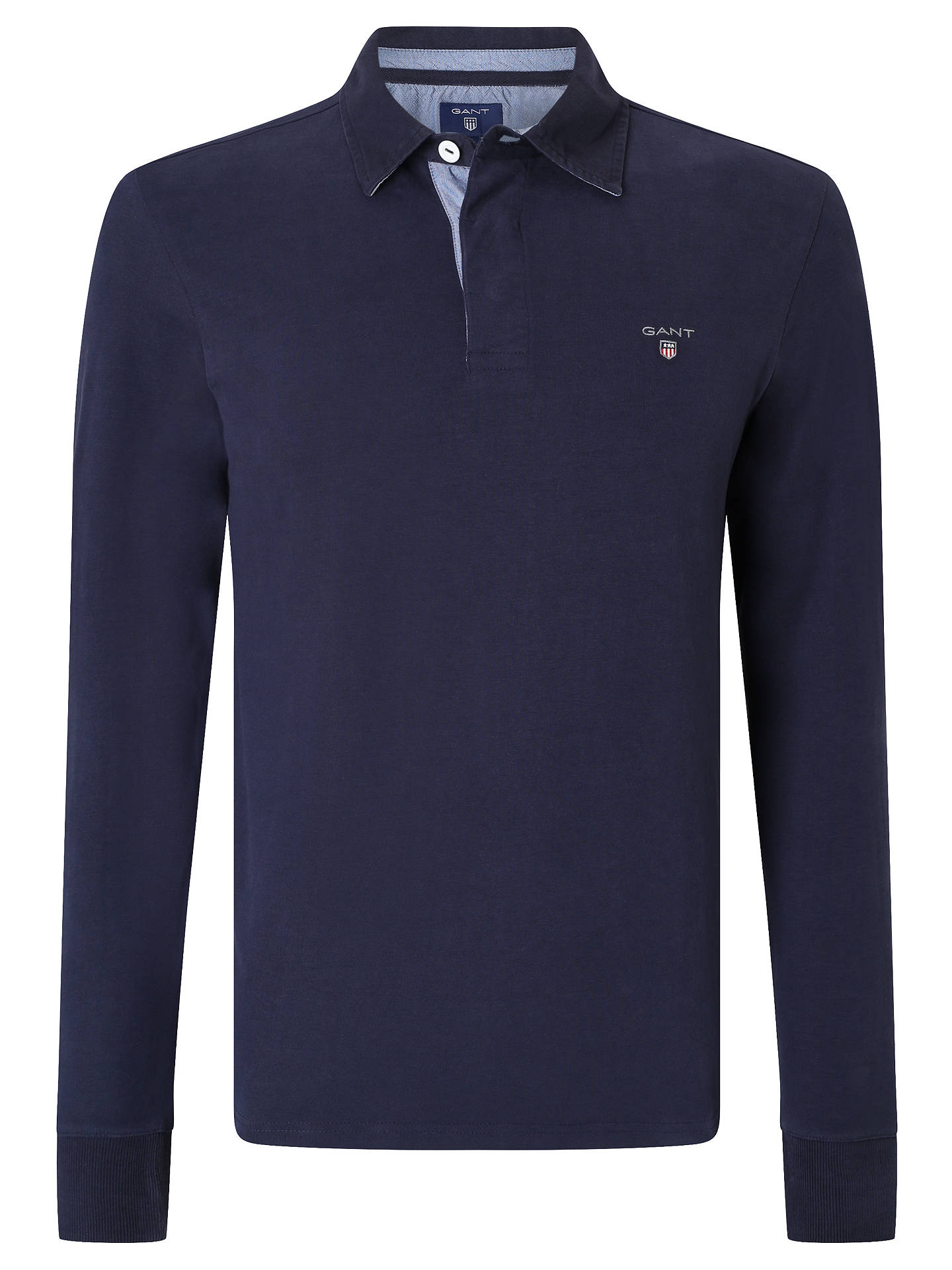65033e15ac Buy Gant Solid Cotton Rugby Shirt, Evening Blue, M Online at johnlewis.com  ...