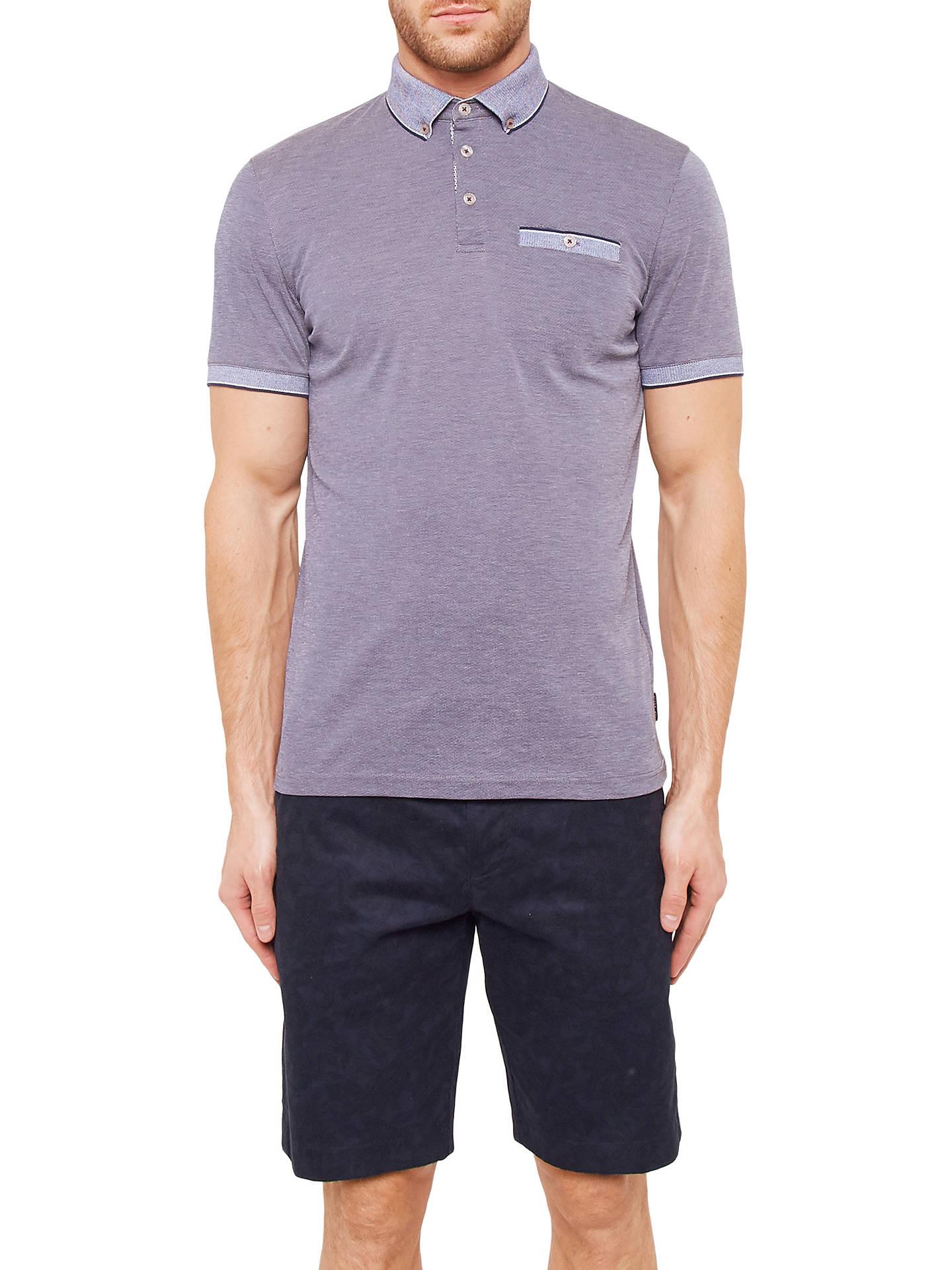 65a04e9e23d4e0 Ted Baker Shapiro Oxford Flat-Knit Polo Shirt at John Lewis   Partners