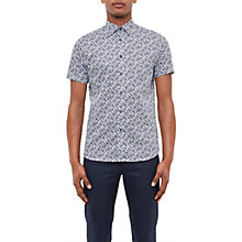 Buy Ted Baker Alygar Floral Print Cotton Shirt, Dark Blue Online at johnlewis.com