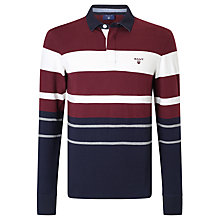 Buy Gant Long Sleeve Multi Stripe Rugby Shirt, Purple/Wine Online at johnlewis.com
