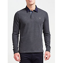 Buy Gant Original Heavy Rugger Jersey Top, Charcoal Online at johnlewis.com