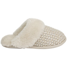 Buy Just Sheepskin Knitted Mule Slippers, Natural Online at johnlewis.com