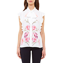 Buy Ted Baker Brownee Sketchbook Floral Pussycat Bow Blouse, Ecru Online at johnlewis.com