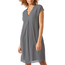 Buy Jigsaw Pleat Front Silk Flare Dress, Rain Grey Online at johnlewis.com