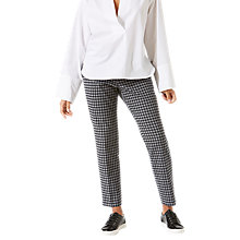 Buy Jigsaw Gingham Stretch Cigarette Trousers, Charcoal Online at johnlewis.com
