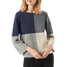 Buy Jigsaw Gingham Boxy Jumper, Navy/Multi Online at johnlewis.com