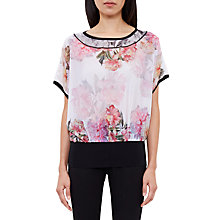 Buy Ted Baker Fitsay Painted Posie Top, Baby Pink Online at johnlewis.com