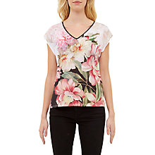Buy Ted Baker Ilenia Painted Posie V-Neck T-Shirt, Baby Pink Online at johnlewis.com
