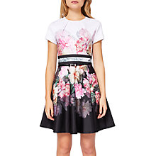 Buy Ted Baker Valerey Painted Posie Skater Dress, Baby Pink Online at johnlewis.com
