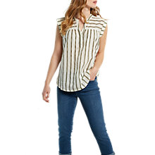 Buy White Stuff Coastline Stripe Cotton Vest, Soft Khaki Online at johnlewis.com