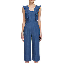 Buy Whistles Sigrid Ruffle Denim Jumpsuit, Blue Online at johnlewis.com