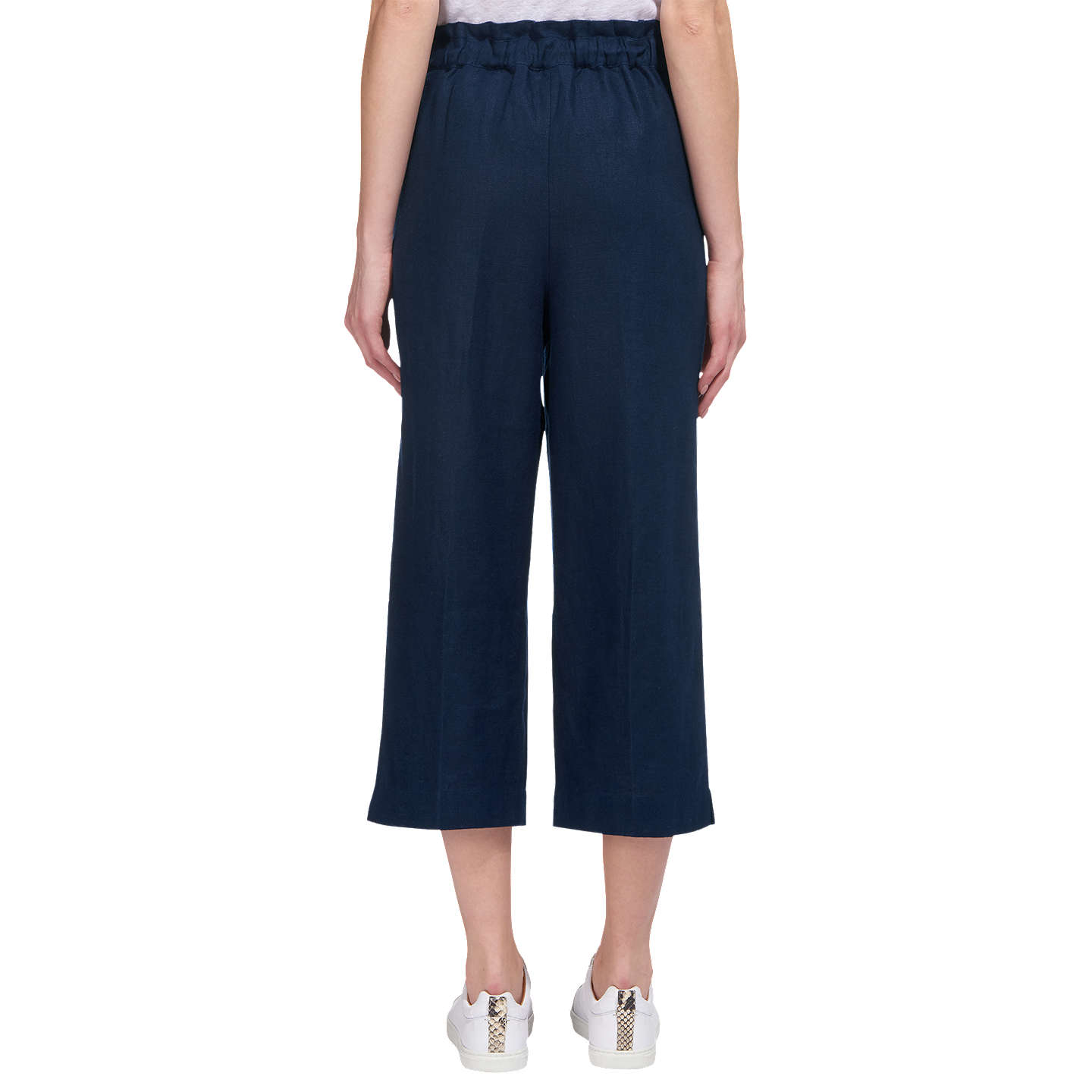 BuyWhistles Tie Waist Straight Leg Trousers, Navy, 10 Online at johnlewis.com