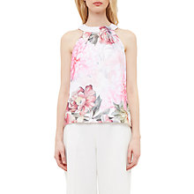 Buy Ted Baker Chelle Painted Posie Twist Neck Top, Baby Pink Online at johnlewis.com