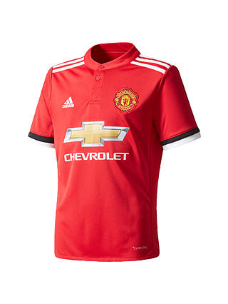 Buy adidas Boys' Manchester United Football Club Home Jersey Top, Red, 7 - 8 years Online at johnlewis.com