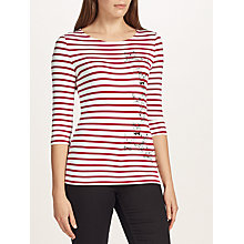 Buy Oui Cat Printed Stripe T-Shirt, White/Red Online at johnlewis.com