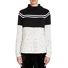 Buy Oui Cable And Stripe Jumper, Black/White Online at johnlewis.com