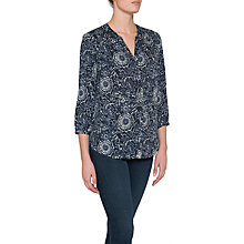 Buy NYDJ Pintuck Pleat Back Floral Print Blouse, Indigo Katazome Online at johnlewis.com