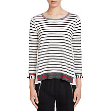 Buy Oui Contrast Stripe Knitted Top, White/Black Online at johnlewis.com