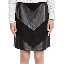Buy Oui Chevron Leatherette Skirt, Black Online at johnlewis.com