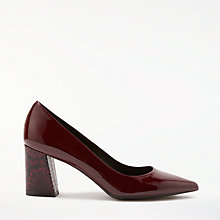 Buy Modern Rarity Aida Angled Block Heeled Court Shoes, Wine Leather Online at johnlewis.com