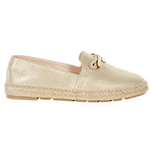 Buy Karen Millen Flat Espadrilles, Gold Online at johnlewis.com