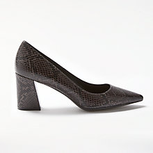 Buy Modern Rarity Alise Angled Block Heeled Court Shoes, Black Snake Leather Online at johnlewis.com
