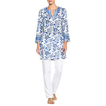 Buy East Anokhi Shirin Embellished Tunic Top, Ocean Online at johnlewis.com