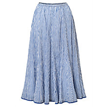 Buy East Anokhi Shirin Crinkle Skirt, White/Blue Online at johnlewis.com