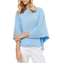 Buy Jaeger Linen Square Sleeve Top, Blue Online at johnlewis.com