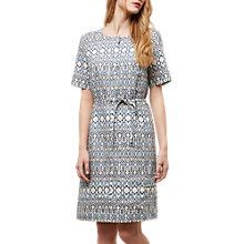 Buy Jaeger Linen Belted Placket Dress, Blue/Multi Online at johnlewis.com