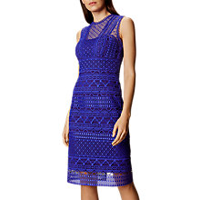 Buy Karen Millen High Neck Lace Pencil Dress, Blue Online at johnlewis.com