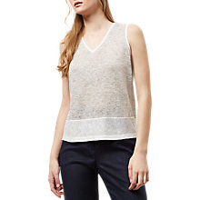 Buy Jaeger Linen Jersey Stripe Top, Ivory Online at johnlewis.com